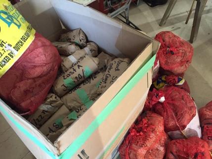 Potato sacks full of grass left to be sorted